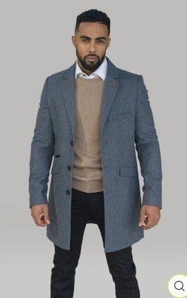 Cavani Roman Grey Crombie Overcoat