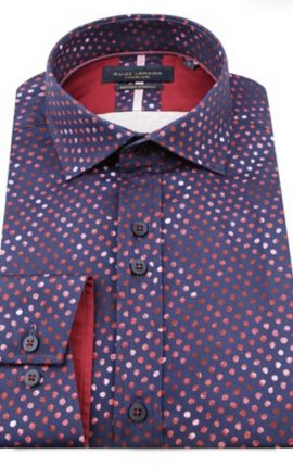 Guide London Navy and Red Dot Print Shirt