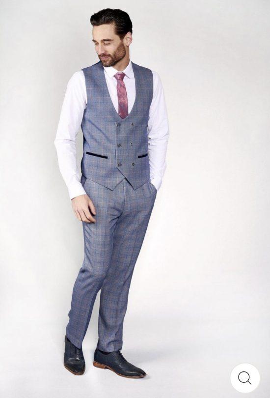 Marc Darcy Harry Blue Check Waistcoat