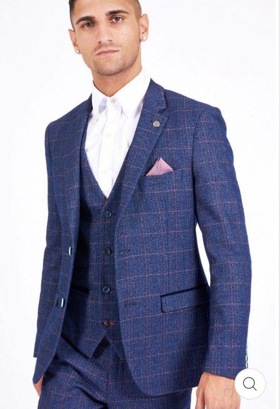 Marc Darcy Harry Indigo Check Blazer