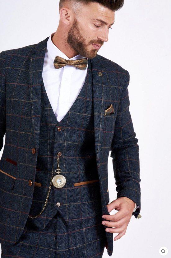Marc Darcy Eton Navy Check Blazer