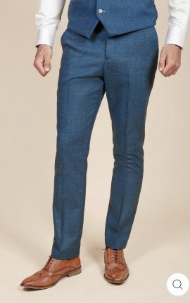 Marc Darcy Dion Blue Tweed Check Trousers