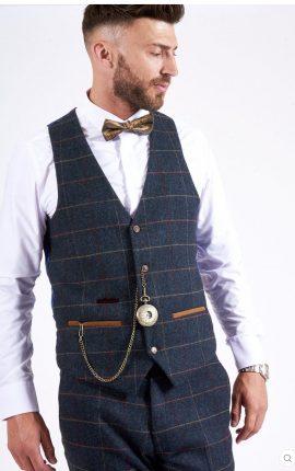 Marc Darcy Eton Navy Check Waistcoat