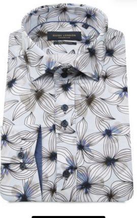 Guide London Pale Blue Flower Print Shirt