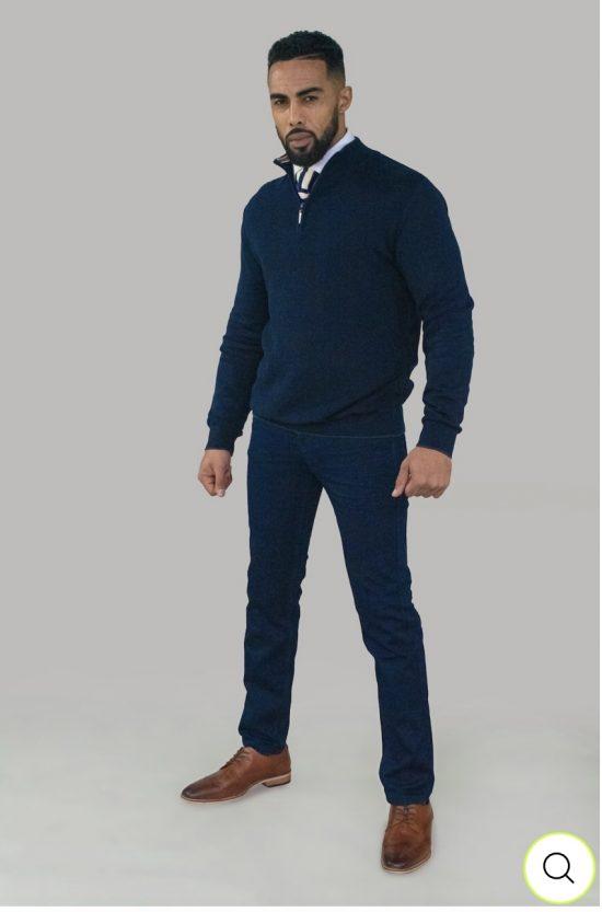 Cavani Navy Half Zip Knit