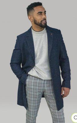 Cavani Roman Azure Crombie Overcoat
