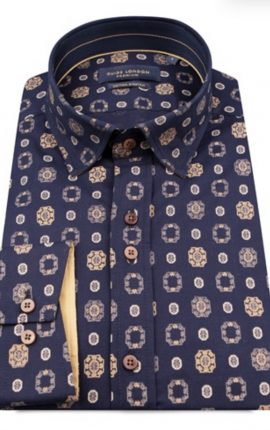 Guide London Navy and Gold Print Shirt