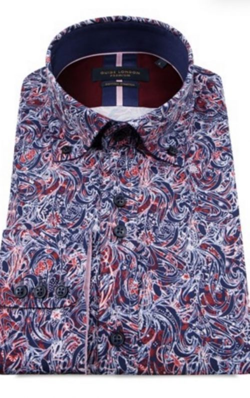 Guide London Navy and Red Print Shirt