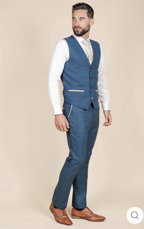 Marc Darcy Dion Blue Check Suit