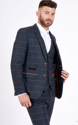 Marc Darcy Eton Navy Check 3 Piece Suit
