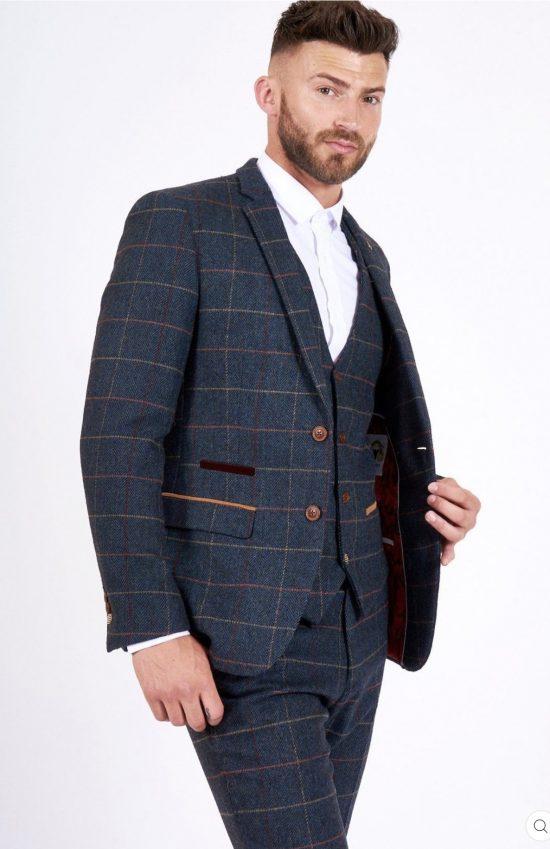 Marc Darcy Eton Navy Check 3 Piece Suit