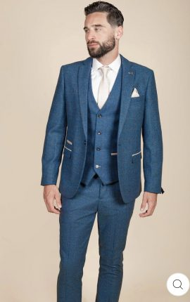 Marc Darcy Dion Blue Tweed Check Blazer
