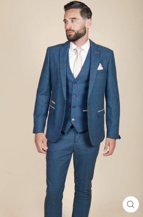 Marc Darcy Dion Blue Tweed Check Blazer