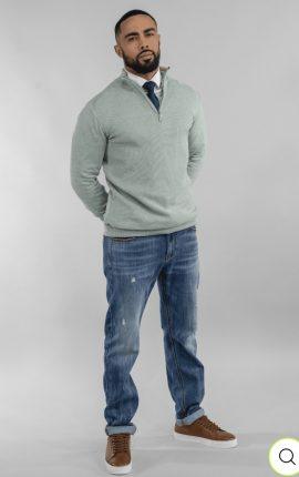 Cavani Kyle Almond Green Half Zip Knit