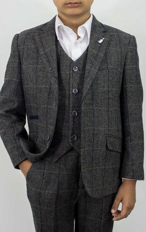 Cavani Albert Grey Tweed Check Boys Suit
