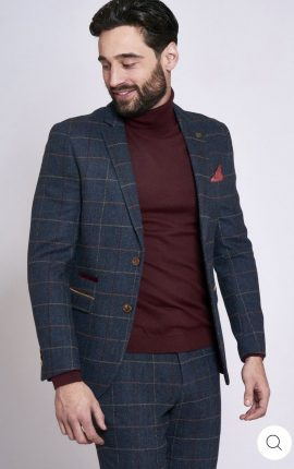 Marc Darcy Eton Navy Check Two Piece Suit