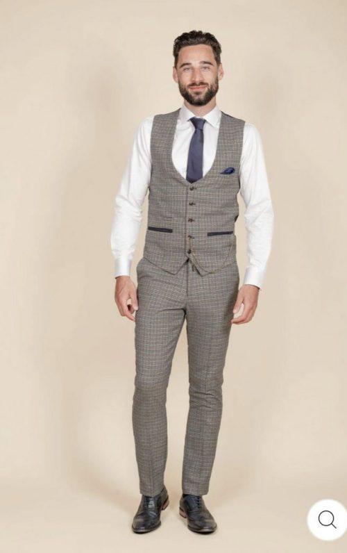 Marc Darcy Hardwick Tan Tweed Waistcoat