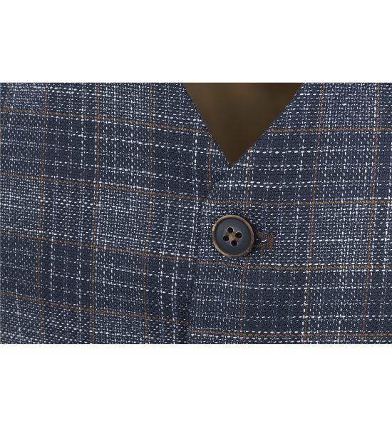Fratelli Uniti Navy Textured Check Waistcoat