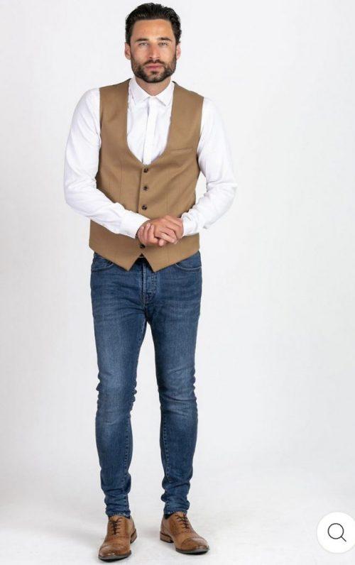 Marc Darcy Kelly Tan Single Breasted Waistcoat