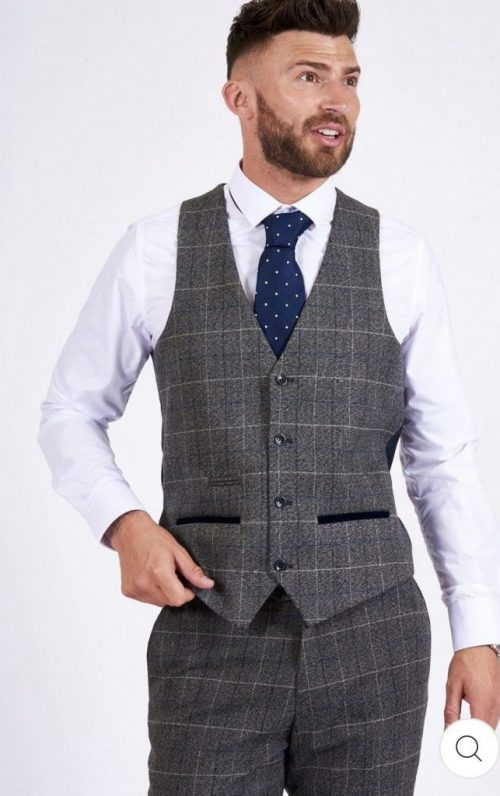 Marc Darcy Scott Grey Check Waistcoat