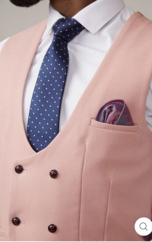 Marc Darcy Kelvin Pink Double Breasted Waistcoat