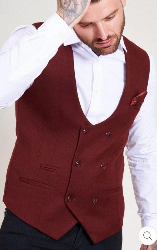 Marc Darcy Kelly Wine Double Breasted Waistcoat