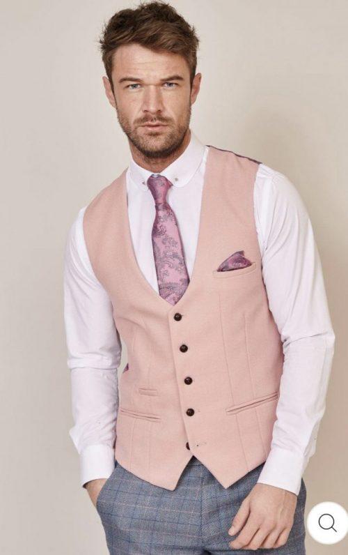Marc Darcy Kelvin Pink Single Breasted Waistcoat
