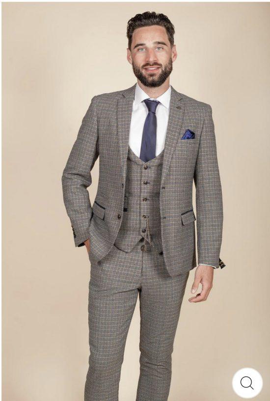 Marc Darcy Hardwick Tan Tweed Suit