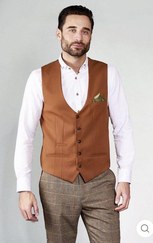 Marc Darcy Kelly Dark Tan Single Breasted Waistcoat