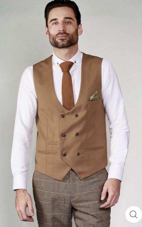 Marc Darcy Kelly Tan Double Breasted Waistcoat