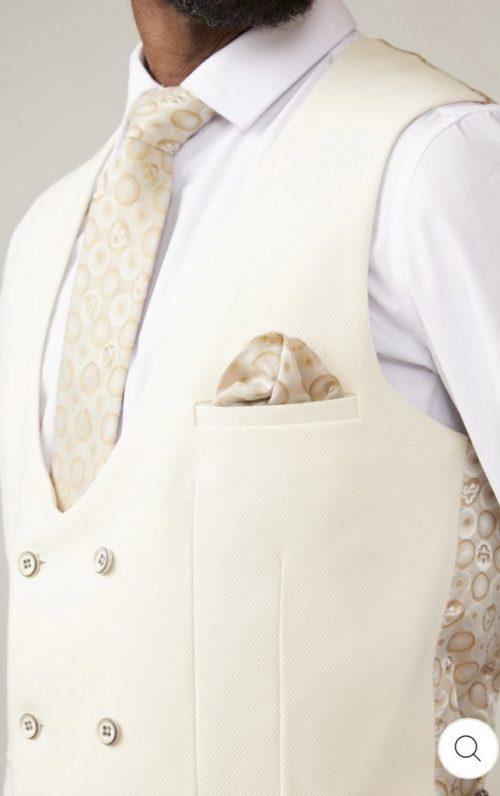 Marc Darcy Kelvin Cream Double Breasted Waistcoat