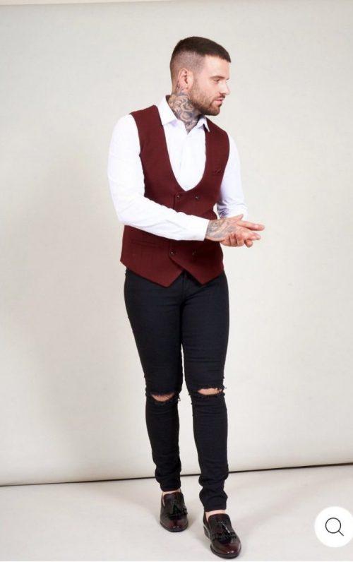Marc Darcy Kelly Wine Single Breasted Waistcoat