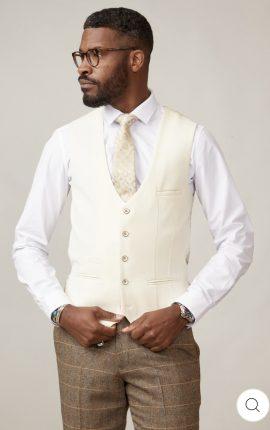 Marc Darcy Kelvin Cream Single Breasted Waistcoat