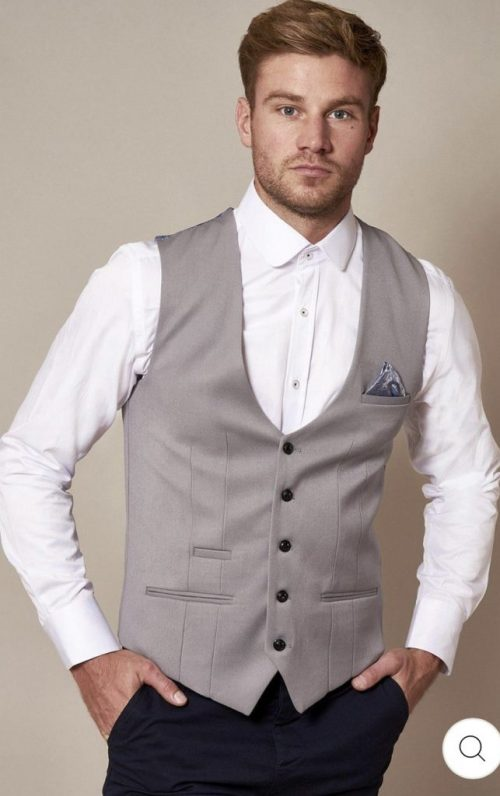 Marc Darcy Kelly Silver Single Breasted Waistcoat